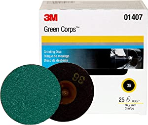 3M Roloc Green Corps Abrasive Disc, 01407, 3 in, 36, 25 discs per carton