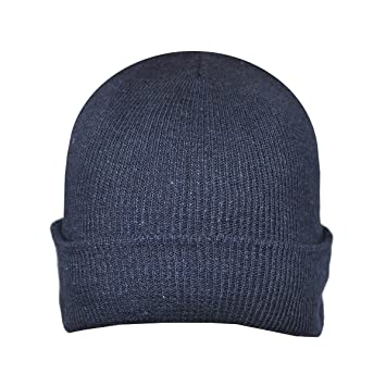c75fb27e7c1 Image Unavailable. Image not available for. Color  Beanie Plain Navy Blue  Winter Ski Woolly Hat