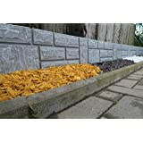 WOOLUX GARDEN Zaun Rasenkanten Beeteinfassung Palisade Beetumrandung Garten Rasen Zierzaun Gartenzaun 2,34 m x 20 cm antikgrau
