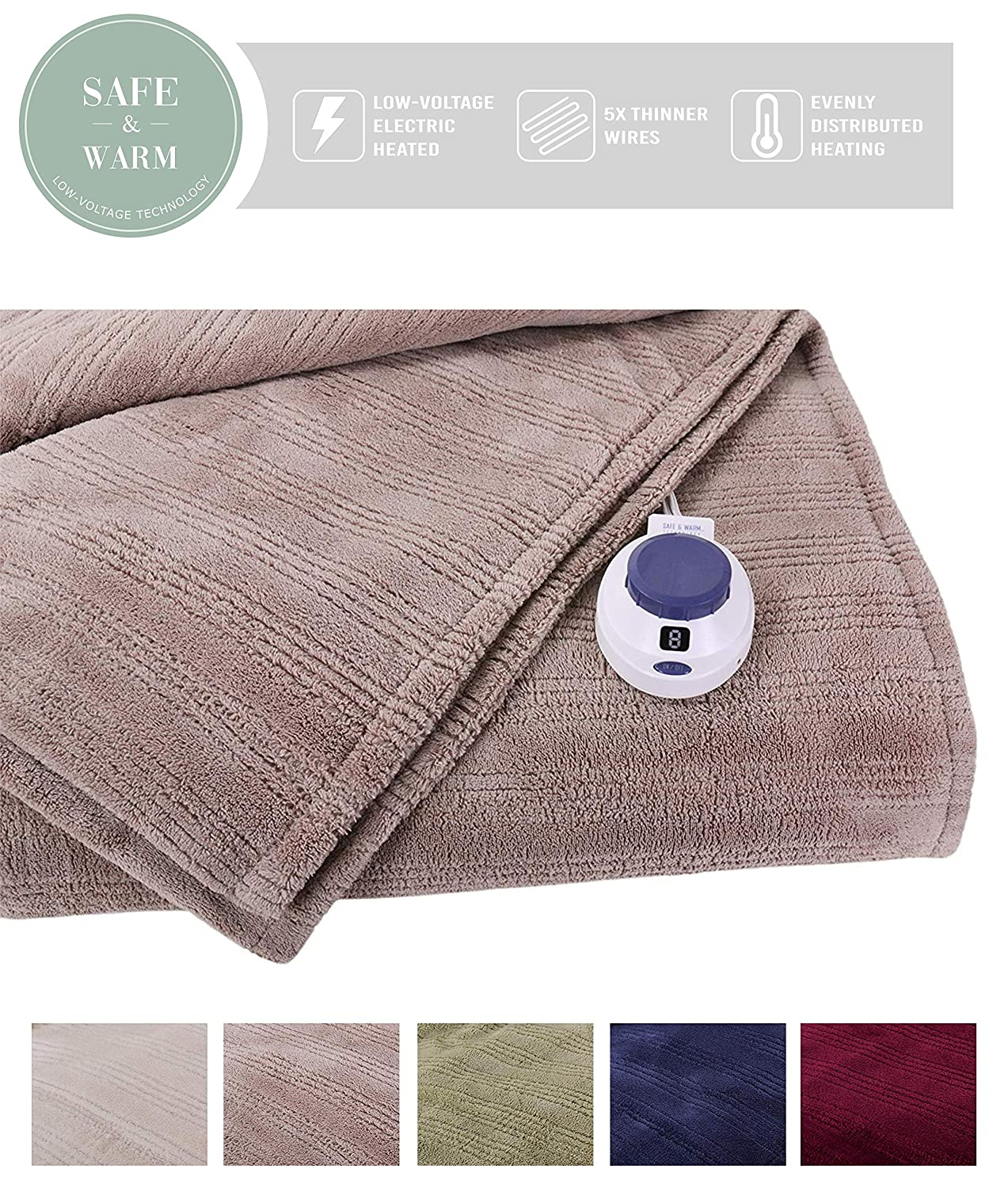 SoftHeat by Perfect Fit | Ultra Soft Plush Electric Heated Warming Blanket with Safe & Warm Low-Voltage Technology (Twin, Beige)