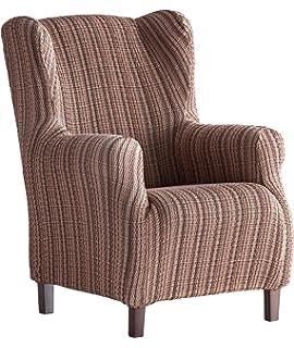 Funda de sillón orejero elástica Aitana - Color Marrón ...