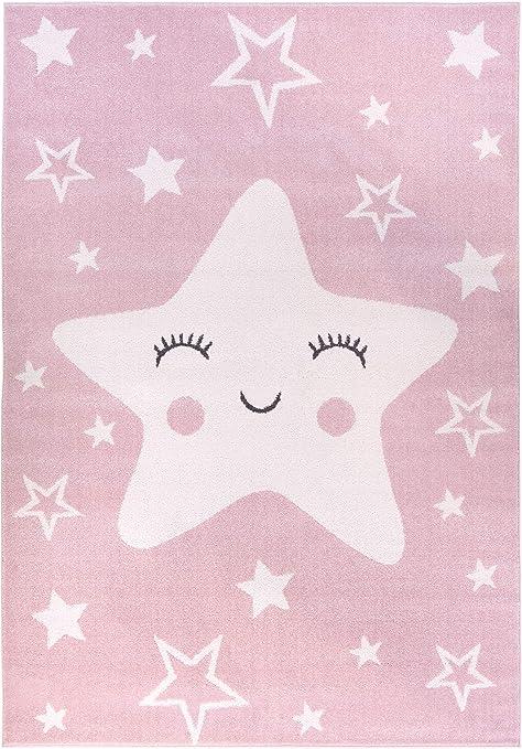 Tapis pour Les Enfants Happy Star Gray 80 x 150 cm Quatre Tailles Parfait pour la Chambre de b/éb/é ou la Chambre des Jeunes