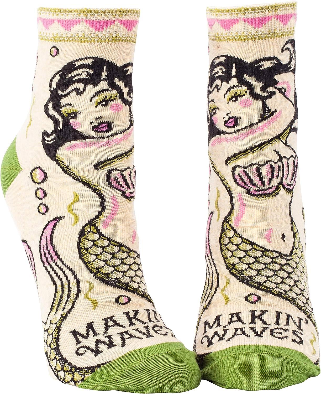 Makin/' Waves Mermaid Funny Novelty Gift 5-10 Women/'s Ankle Socks Blue Q