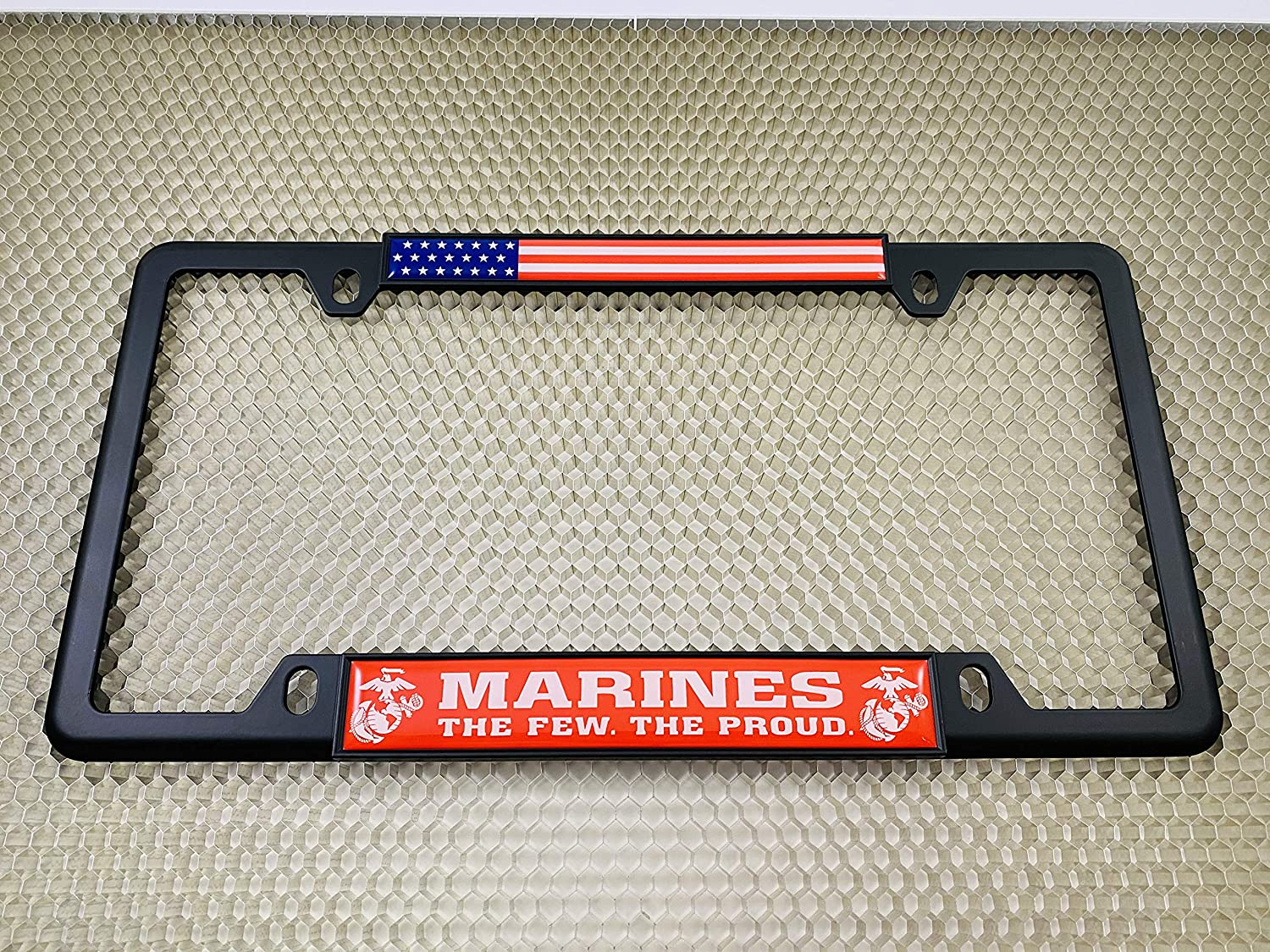Marines Top 4 Hole Metal Car License Plate Frame with Free caps Thin Chrome The Proud. Red /& White Text - Domed Custom-Made Personalized Narrow The Few