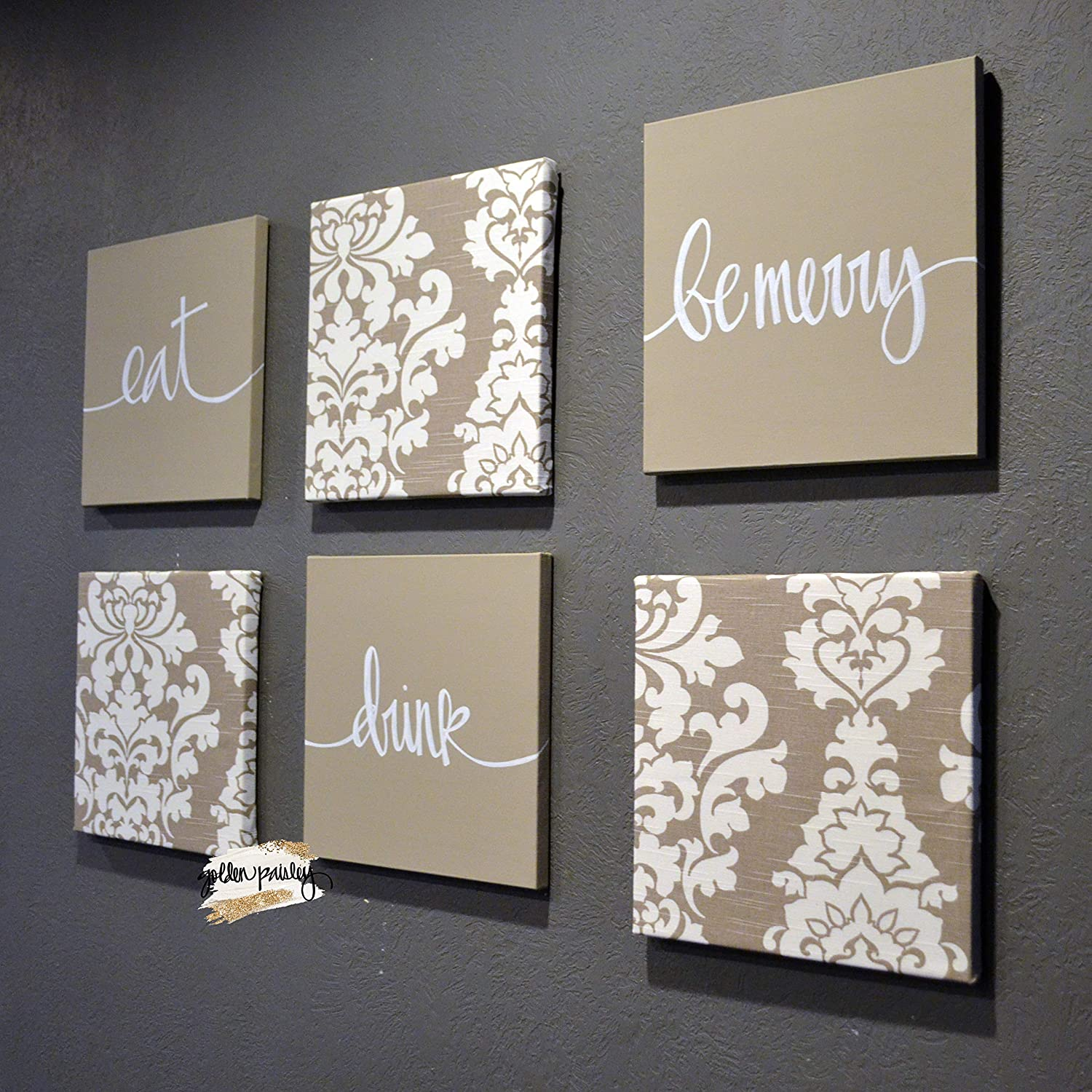 Beige Dining Room Wall Art Set Eat Drink Be Merry Wall Decor