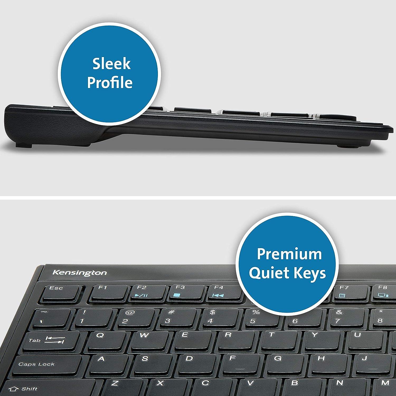 Kensington K72344UK Teclado Fino Inalámbrico Advance Fit de Tamaño Completo, Conexión USB, Compatible con Windows y Mac, Negro