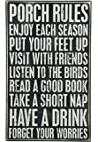 Primitives by Kathy Box Sign, 16.5-Inch by 10-Inch, Porch Rules