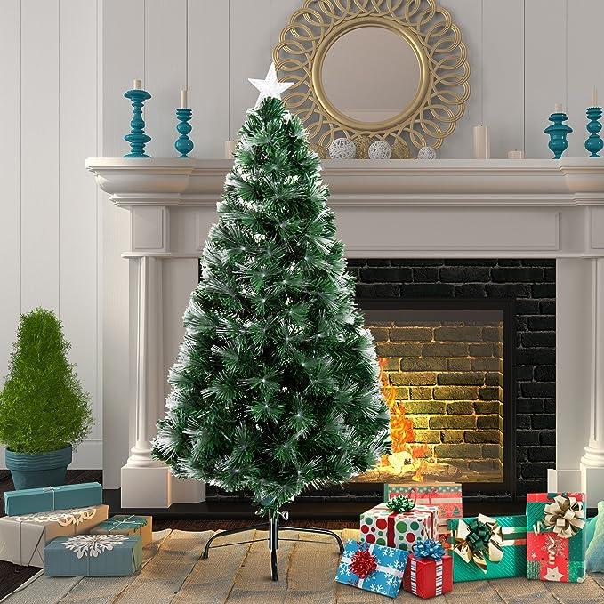 HomCom Arbol de Navidad Altura 120 cm + Estrella y Fibra Optica de 7 Colores Arboles Artificial Φ66x120cm