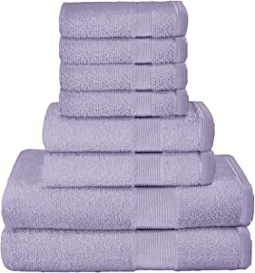 Elvana Home 8 Piece Towel Set 100% Ring Spun Cotton, 2 Bath Towels 27x54, 2 Hand Towels 16x28 and 4 Washcloths 13x13 - Ultra Soft Highly Absorbent Machine Washable Hotel Spa Quality - Purple