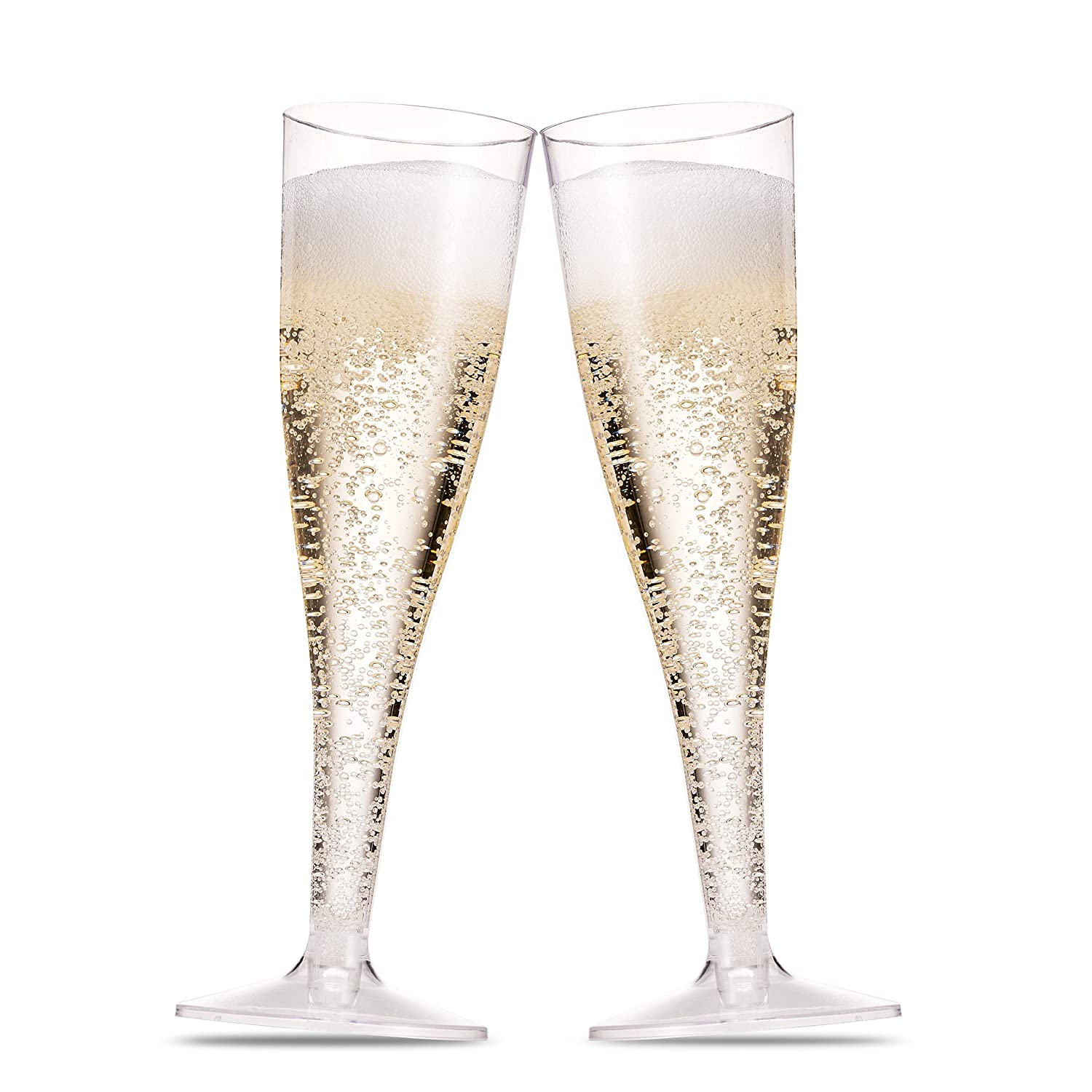 100 Plastic Champagne Flutes ~ 5 Oz Clear Plastic Toasting Glasses ~ Disposable Wedding Party Cocktail Cups Munfix MF5100C