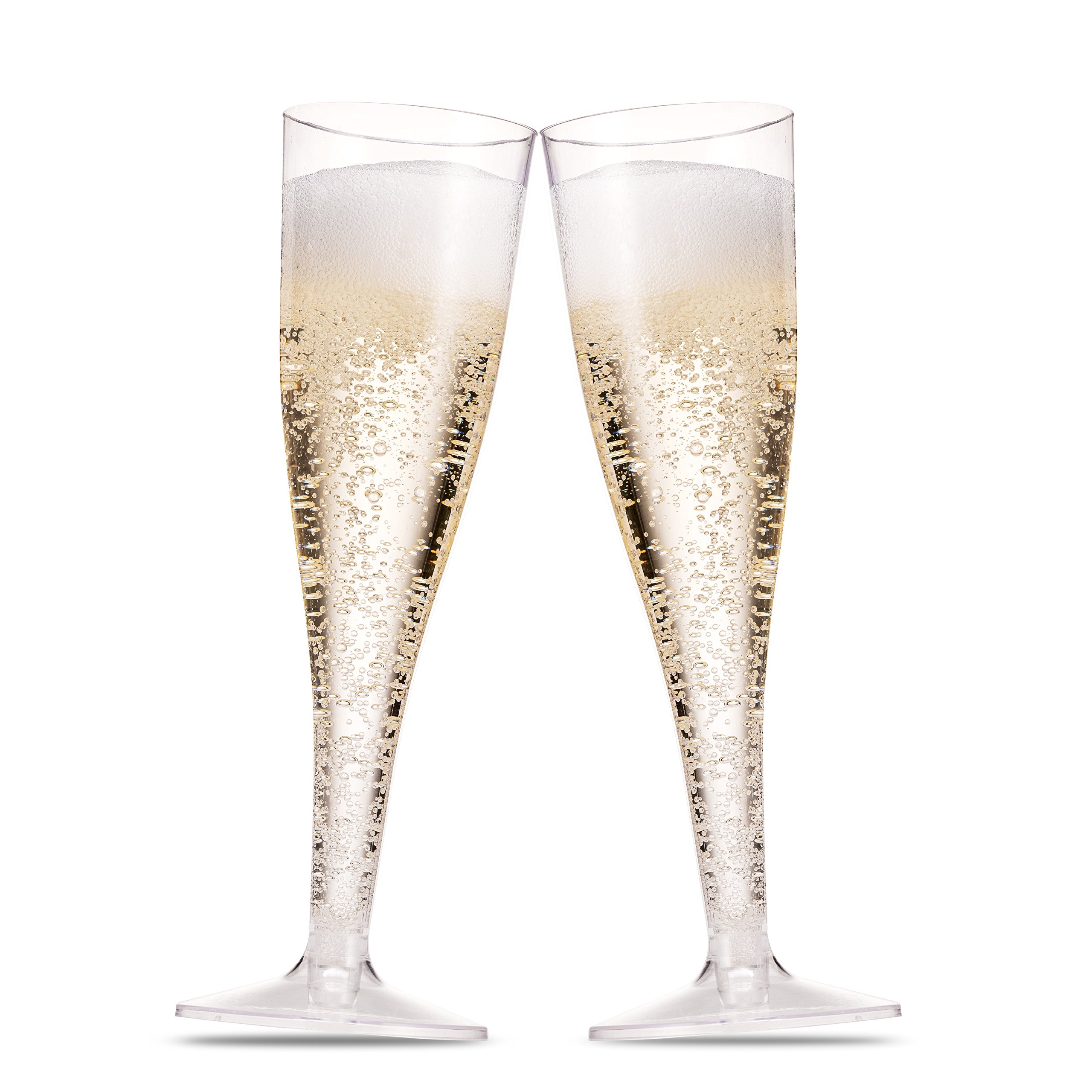 f2630036e51 50 Plastic Champagne Flutes ~ 5 Oz Clear Plastic Toasting Glasses ~  Disposable Wedding Party Cocktail Cups