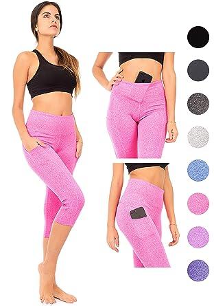 c5af5febe6fdb DEAR SPARKLE Capri Leggings 3 Pockets Women   High Waist Workout Yoga Pants  (S2) (Pink, 2X-Large): Amazon.co.uk: Clothing