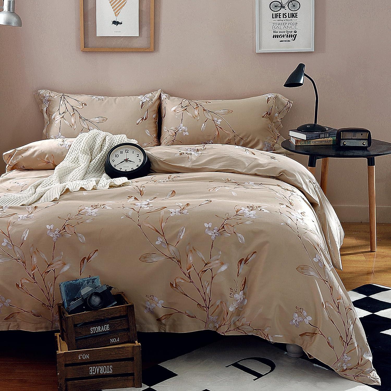 (エイケイ) Eikei ビンテージ 植物フラワープリント寝具 400TC 綿繻子 ロマンティックフローラルカバー 掛け布団カバー 3枚セット カラフルなアンティーク模様 満開の夏のユリヒナギク クイーン ベージュ B01NBWI399 クイーン|ナチュラル ナチュラル クイーン