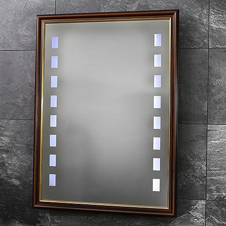 VON ADELBERG LED Specchio specchio da parete con cornice in legno ...