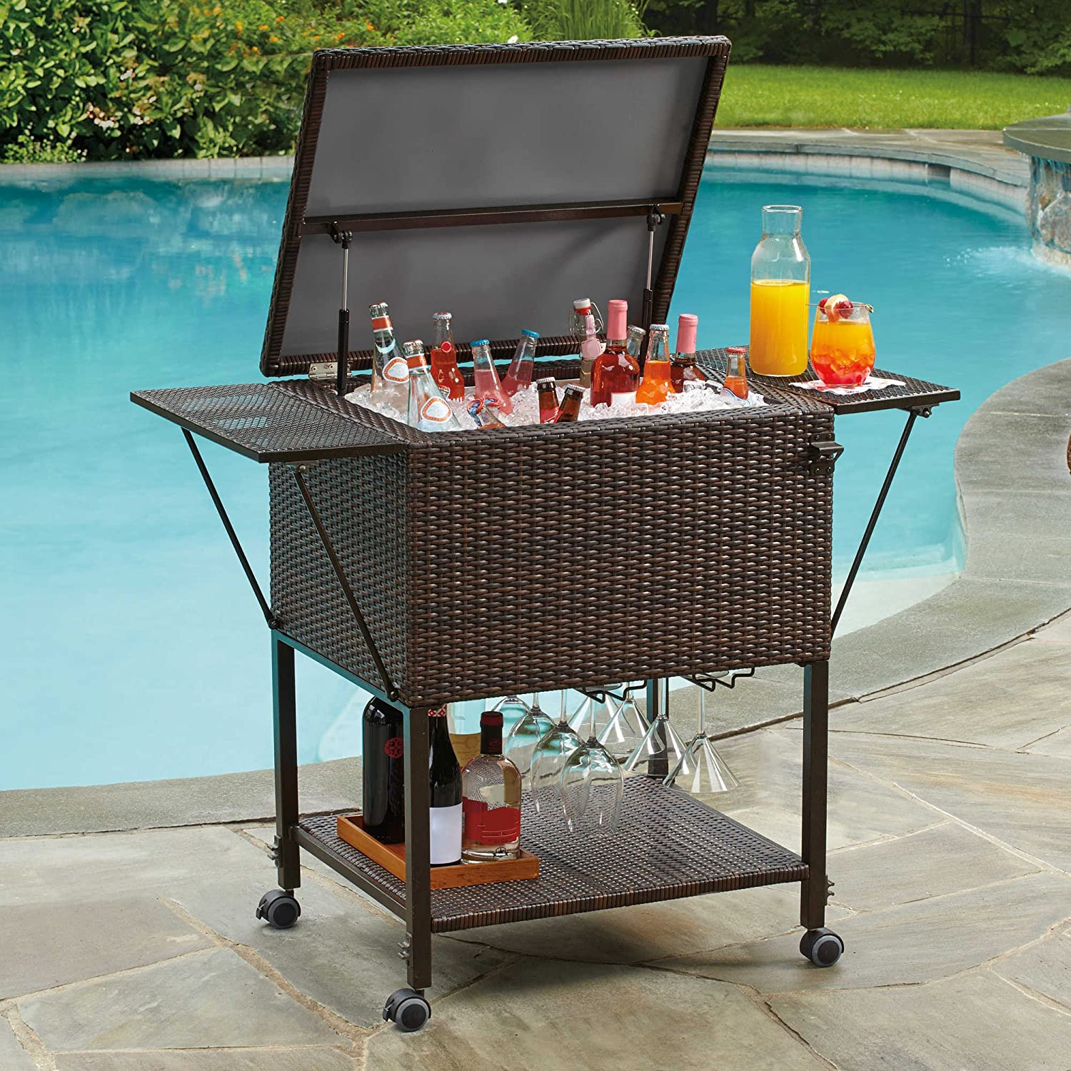 Amazon.com: Stratford Insulated Cooler Cart, All Weather Wicker, For Outdoor  Use: Home U0026 Kitchen