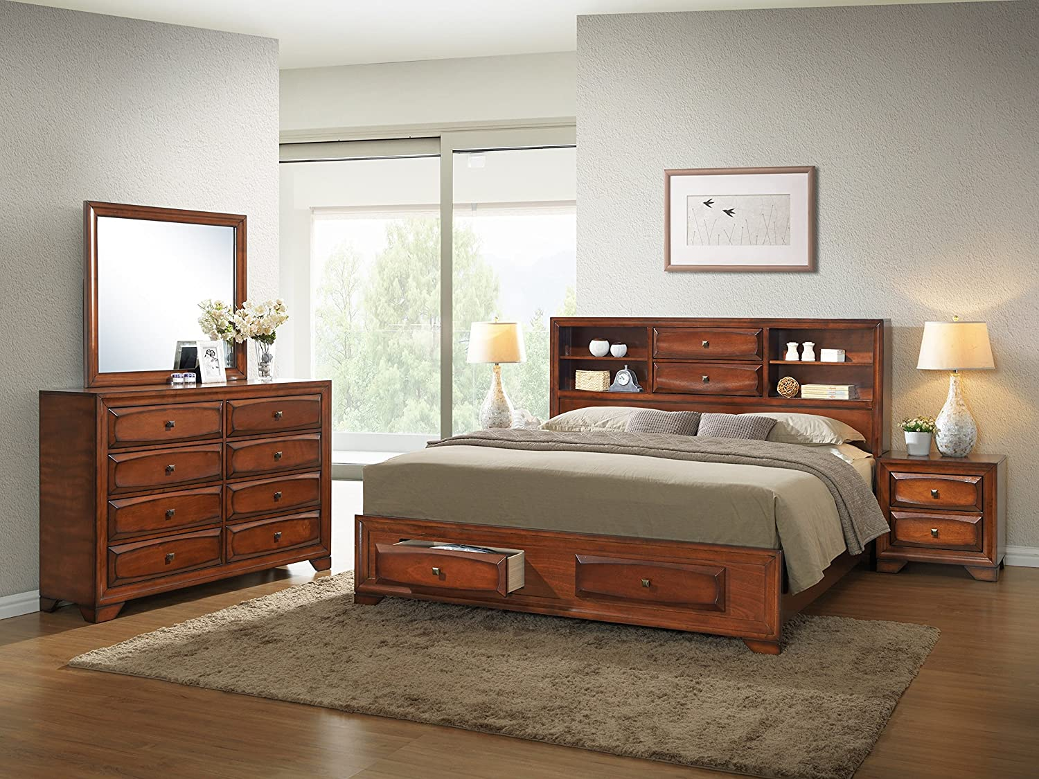 Roundhill Furniture Oakland 139 Antique Oak Finish Wood Bed Room Set Queen Storage Bed Night Stand Mirror Dresser