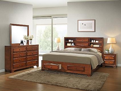 Roundhill Furniture Asger Antique Oak Finish Wood Bed Room Set, King  Storage Bed, Dresser, Mirror, 2 Night Stands