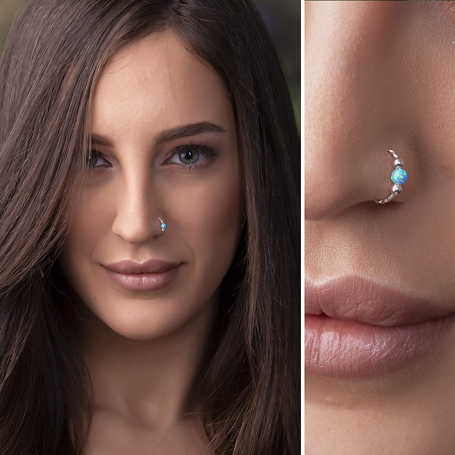 16g 18g 20g 22g Silver Blue Opal Nose Pircing,Opal Nose Ring,Nose Hoop,Nostril Hoop,Nose Jewelry,October/'s Birthstone Fathers  Day Gift