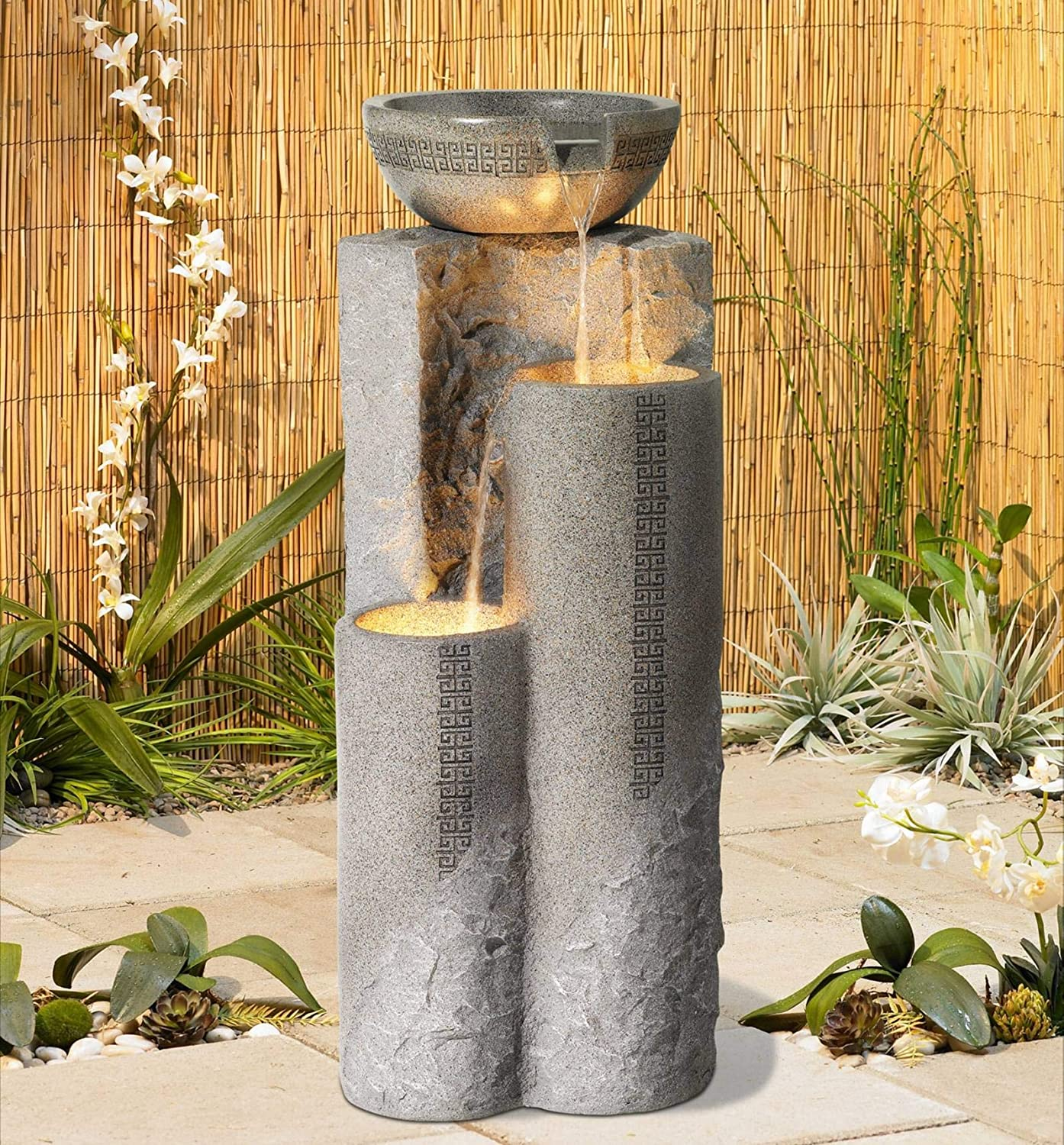 "John Timberland Outdoor Water Fountain 34 1/2"" High Cascading Marble Bowls LED for Yard Garden"