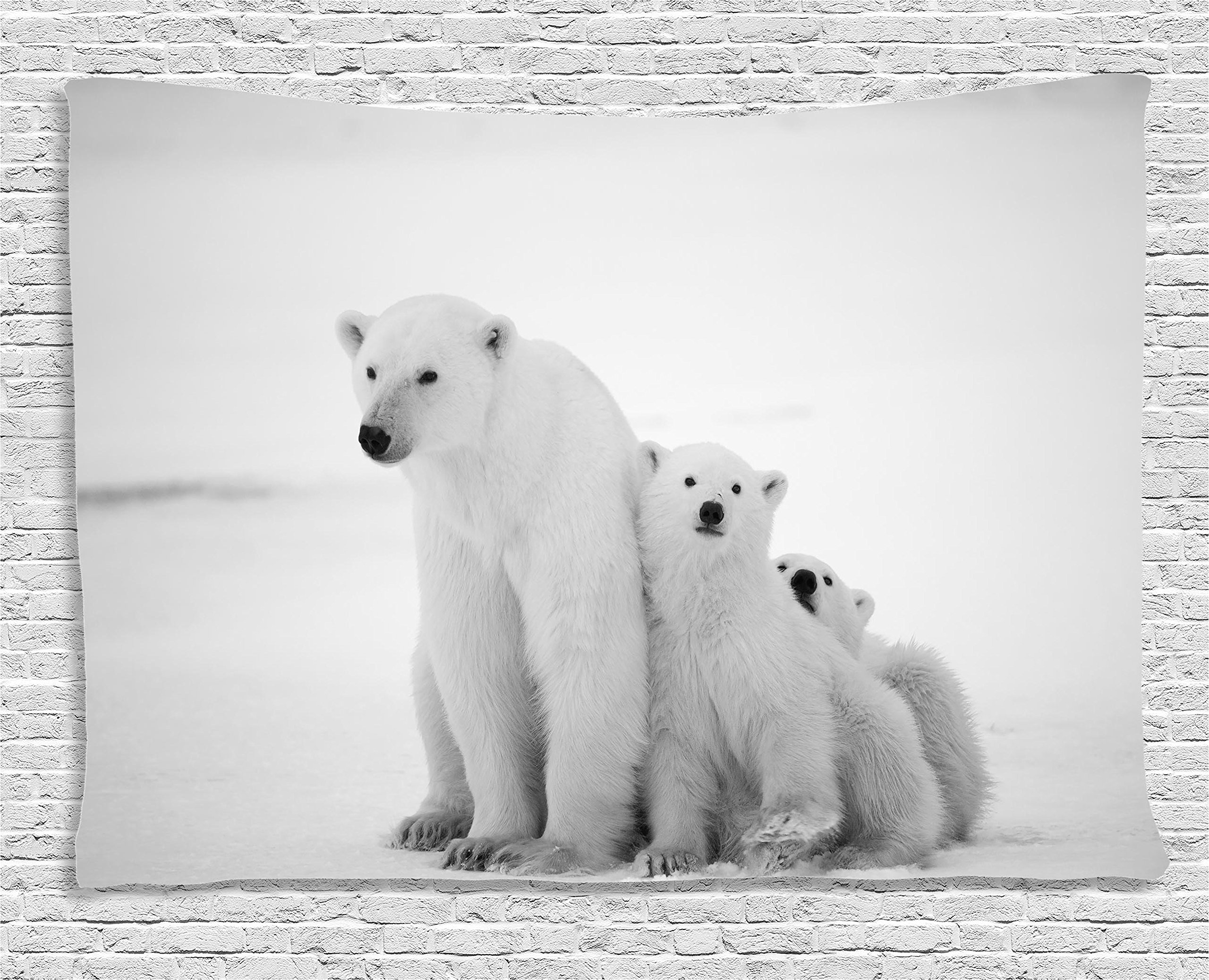 Ambesonne Sea Animals Decor Collection, Polar Bear Family With Two Small Bear Cubs Around Snow Cold Winter North, Bedroom Living Room Dorm Wall Hanging Tapestry, 80W X 60L Inch