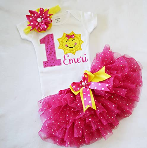 492a8d805 Amazon.com: You Are My Sunshine Birthday Outfit,first Birthday Outfit  Girl,sparkly pink tutu girl,cake smash outfit girl: Handmade