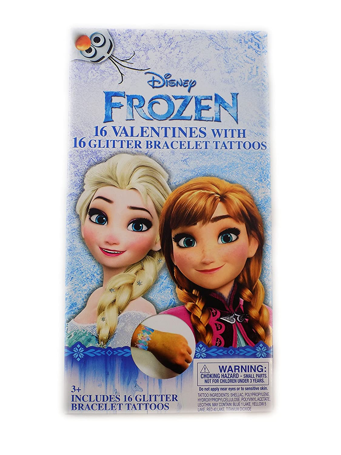Amazon.com : Disney Frozen Valentine Day Sharing Cards with Tattoo Glitter Bracelet New 2018 Design : Office Products