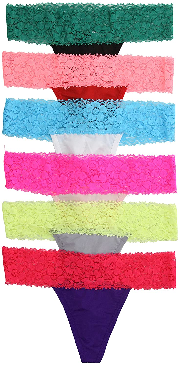ToBeInStyle Women's Pack of 6 Lace Detail Thongs