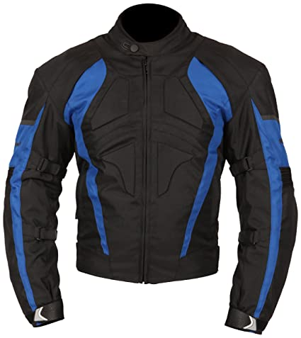 Milano Sport Gamma Motorcycle Jacket with Blue Accent (Black, Large)