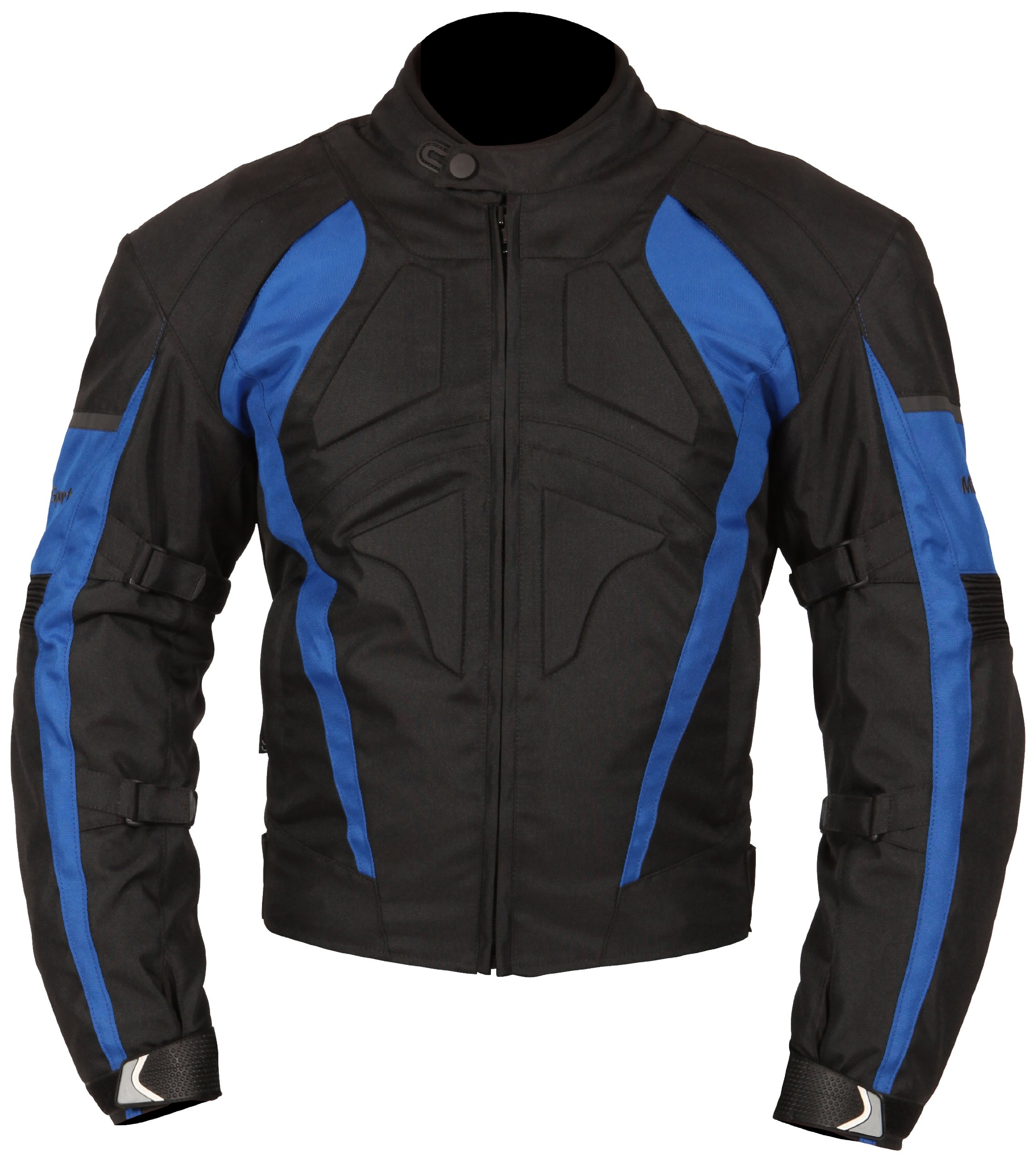 Milano Sport Gamma Motorcycle Jacket with Blue Accent (Black, XX-Large)