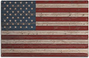 Lantern Press Distressed American Flag (10x15 Birch Wood Wall Sign, Wall Decor Ready to Hang)