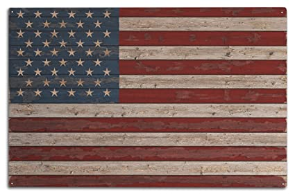 369f29a83e28 Image Unavailable. Image not available for. Color  Lantern Press Distressed  American Flag (10x15 Wood Wall ...