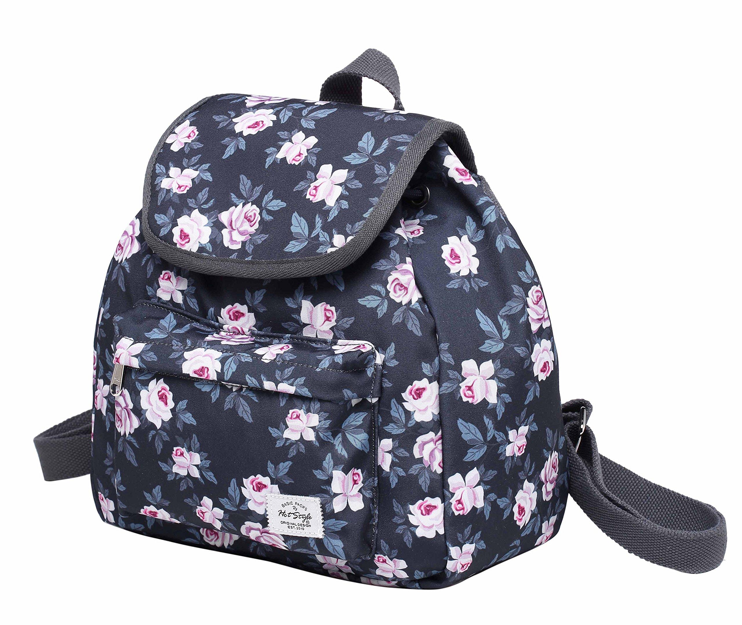 MIETTE Small Backpack Purse Flap Bag   Fits iPad Mini   11''x9.8''x5.1   Grey Roses