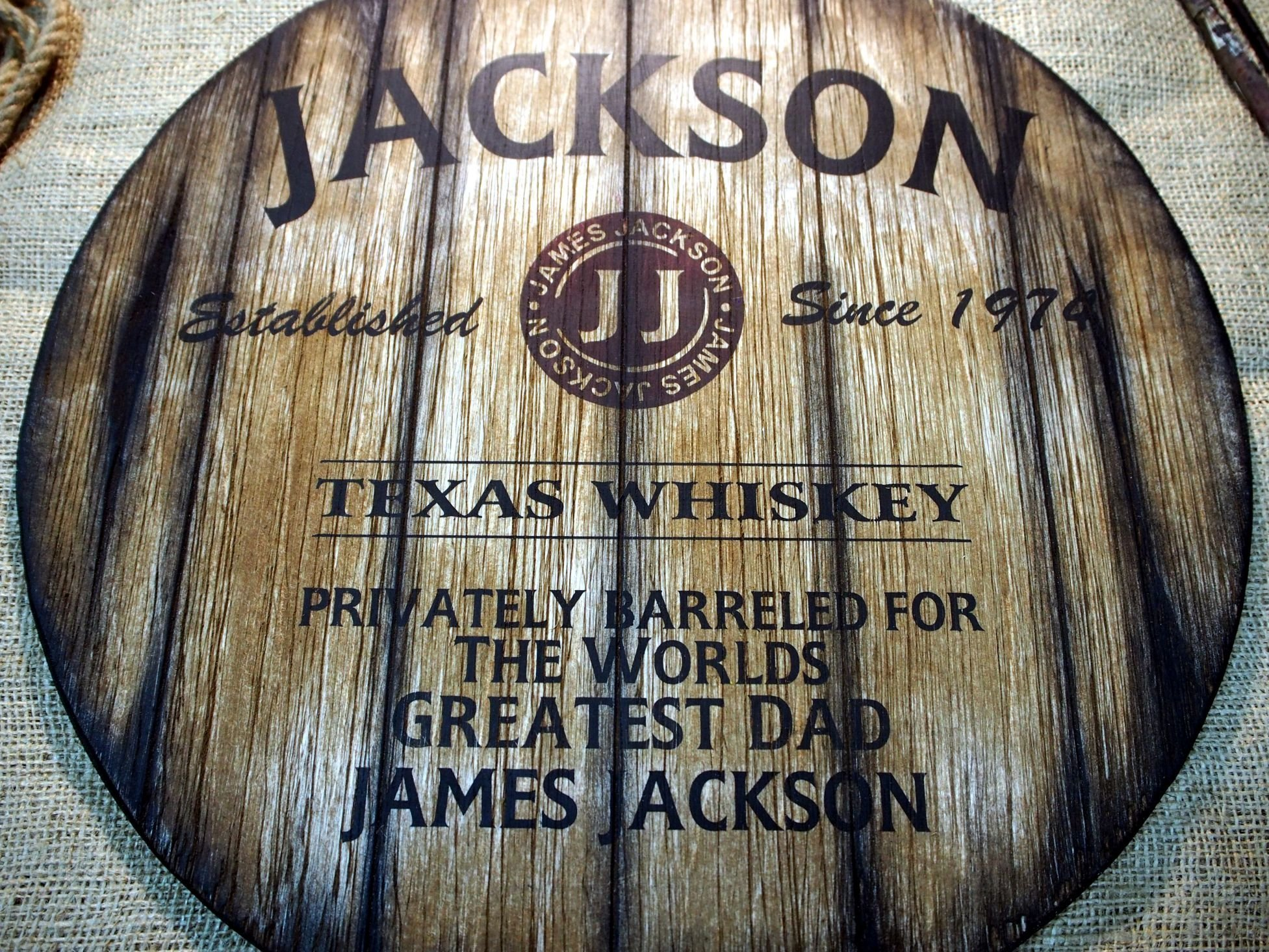 Personalized decor sign inspired by old whiskey barrel tops   Custom Gifts for men   Rustic Living room, Home Bar, Man Cave decoration   Unique Husband, Dad, Groom, Best Man Gift