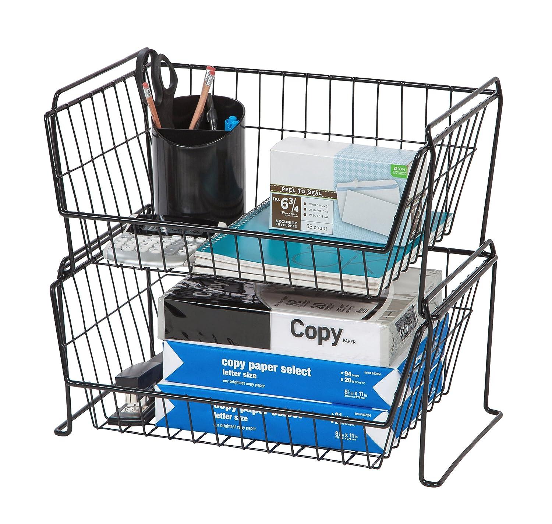 Amazon.com: IRIS Large Stacking Basket, Black: Home & Kitchen