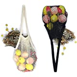 Net Shopping Bag Cotton Market String Reusable Net Shopping Tote with Long Handles Washable Mesh Fruit Vegetable Pack of 2 (Natural + Black)