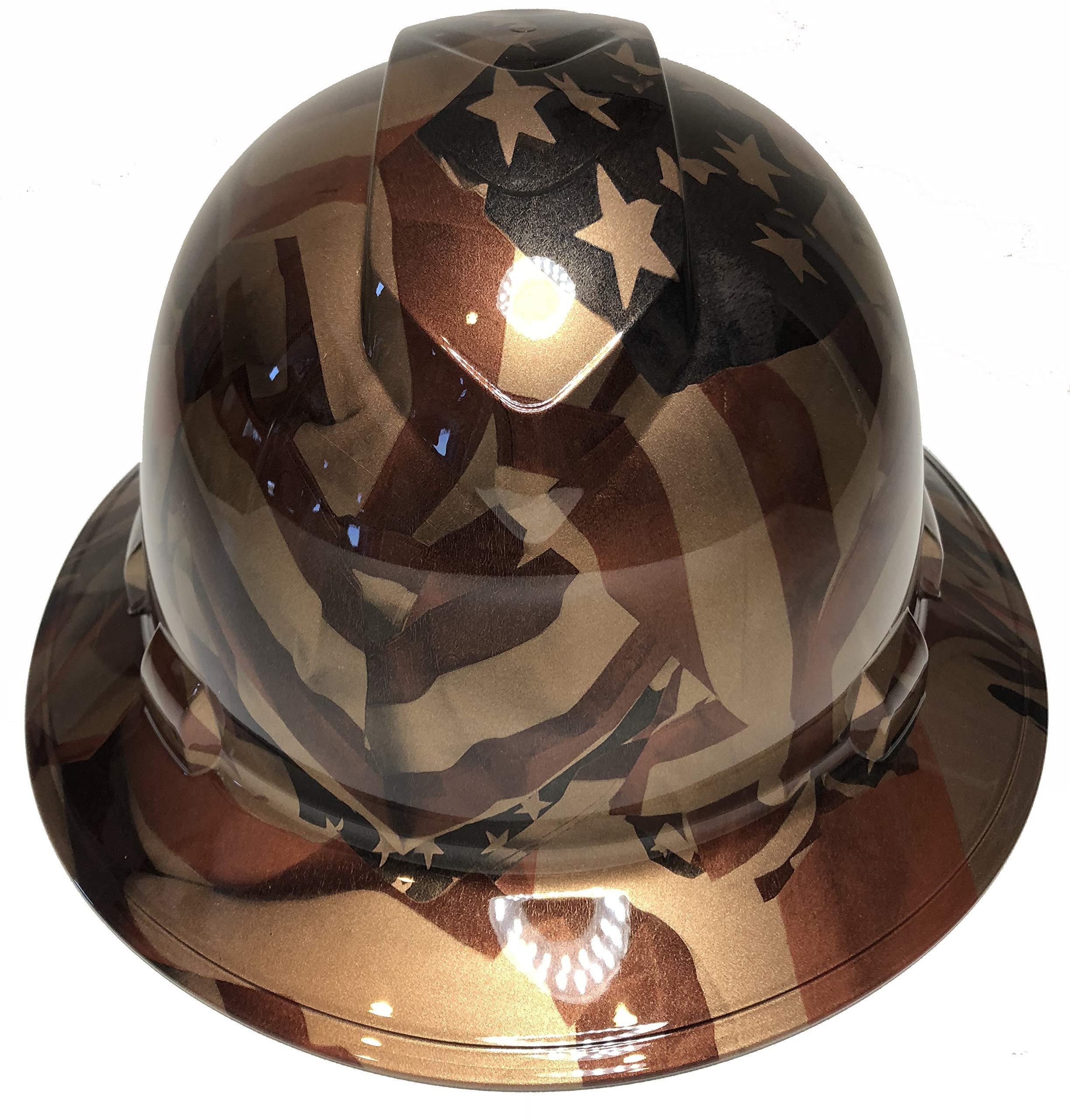 Hard Hat Ridgeline Full Brim Custom Copper Metalic American Flags