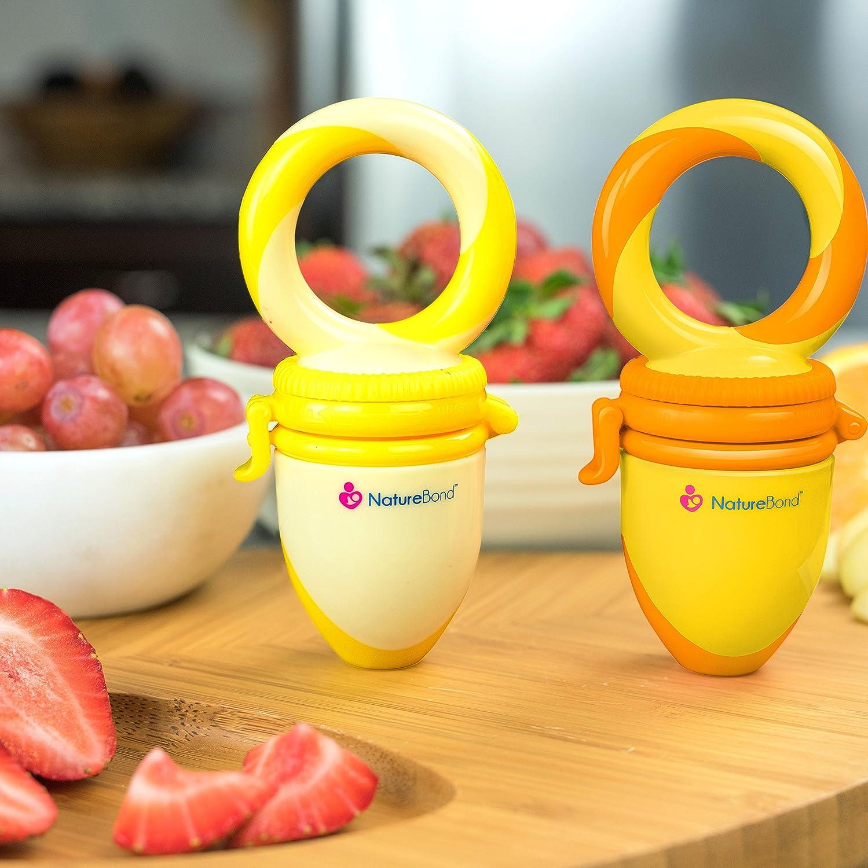 NatureBond Fruchtsauger Baby//Schnuller bei/ßring Babynahrung Nahrungsmittelzufuhr 2 St/ück alle Gr/ö/ßen BPA-frei Inklusive Silikon-Nippel - Fruchtsauger Baby//Schnuller in appetitanregenden Farben