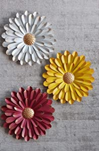 Metal Sunflower Wall Art | Set Of 3 | Large 11in Diameter | Yellow White Red | Rustic Farmhouse Metal Hanging Decor | For Indoor Outdoor Patio and Garden Use | Flower Decoration