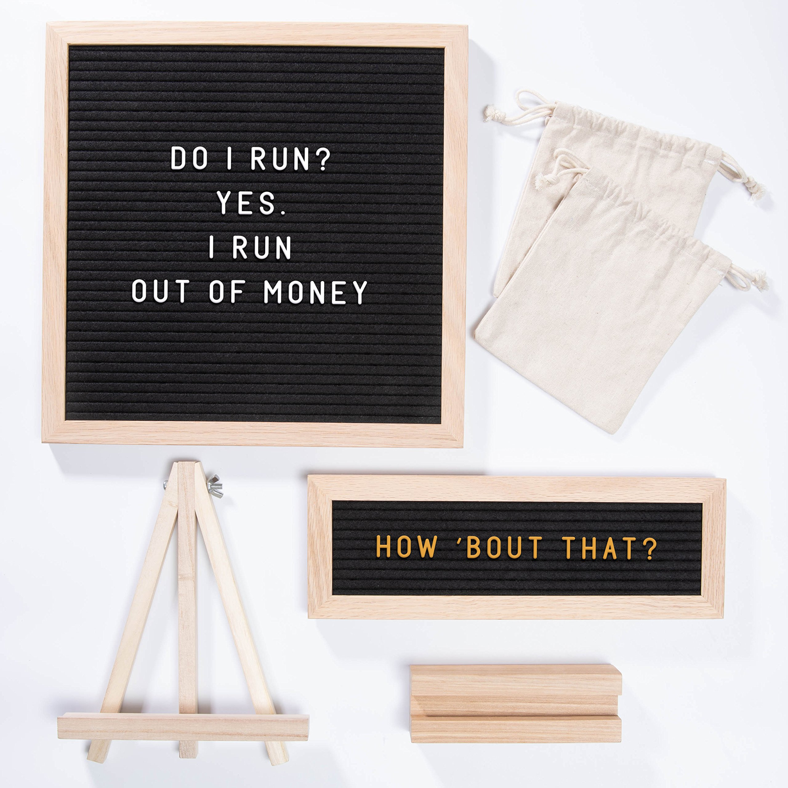 """ETHONS Felt Letter Board Super Pack - 2 Quality Letter Boards 12""""x12"""" & 12""""x4"""" - Personalize with 640 Characters in White & Gold - Gift-Ready Display Boards - Includes 2 Wood Stands and 2 Canvas Bags by ETHONS (Image #8)"""