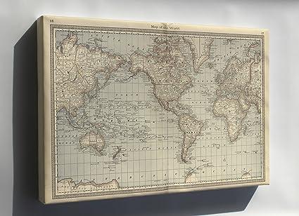 Amazon Com Canvas 24x36 World Map 1881 Everything Else