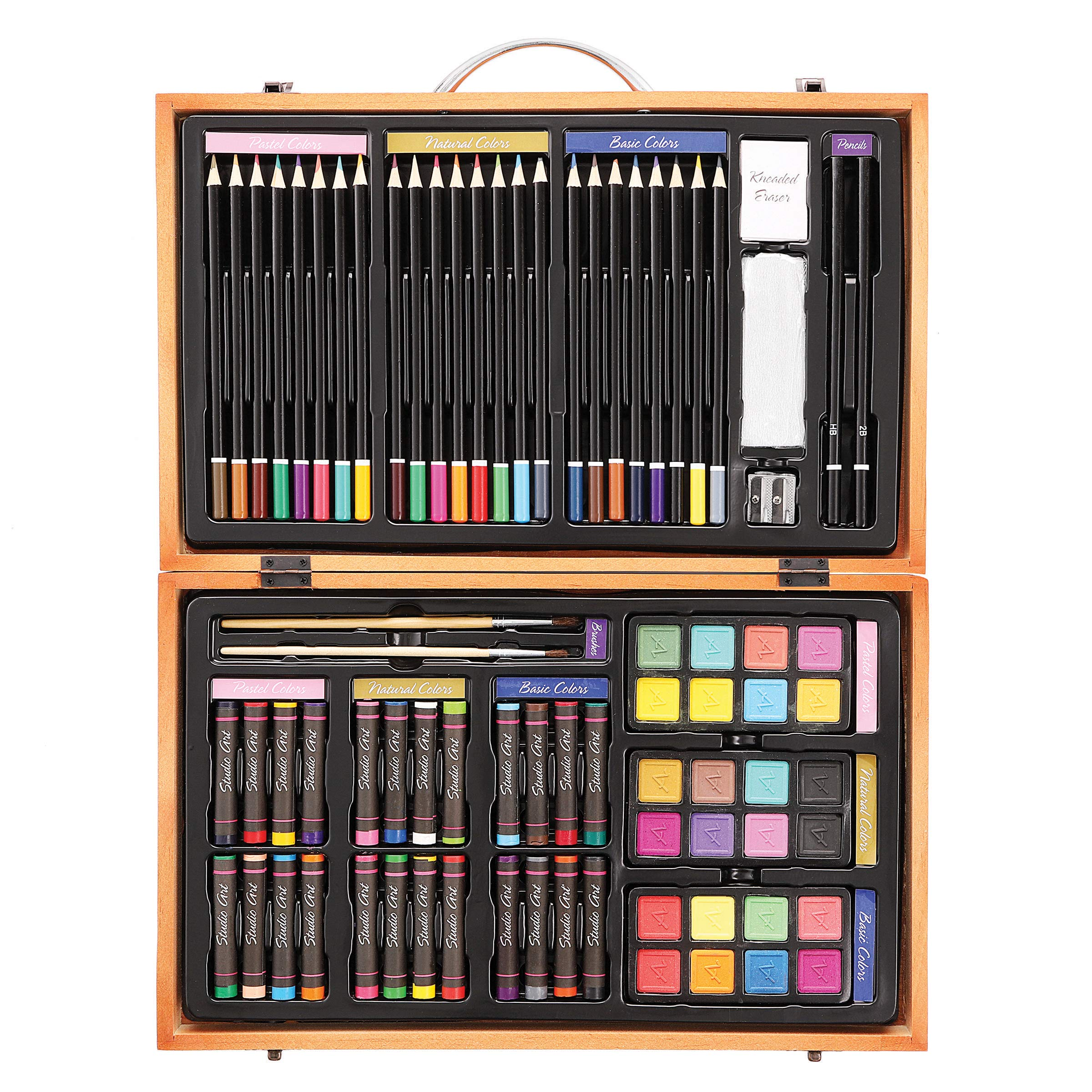 Darice 80-Piece Deluxe Art Set - Art Supplies for Drawing, Painting and More in a Compact, Portable Case - Makes a Great Gift for Beginner and Serious Artists by Darice