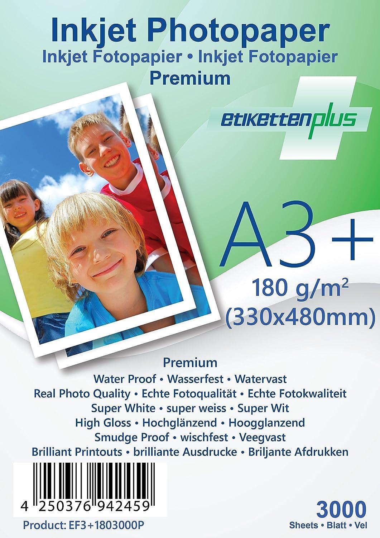 EtikettenPlus Ltd, 1000 Blatt, Premium Fotopapier, EF41801000P, A4 A4 A4 (210x297 mm) 180g qm hoch-glänzend (high-glossy), wasserfest, sofort wischfest für alle Tinten- und Fotodrucker B018NX3AKW | Starker Wert  2f0cd3