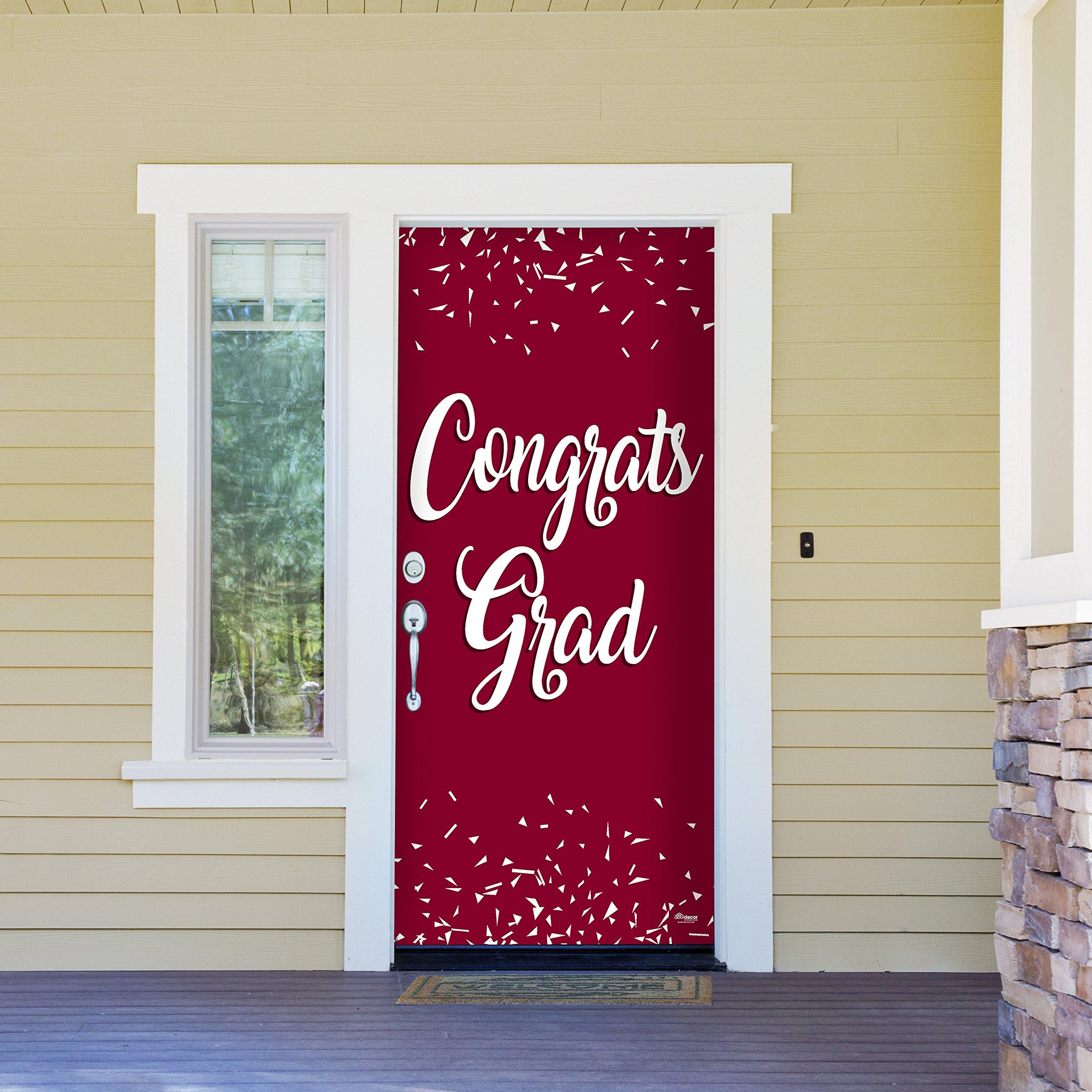 Victory Corps Congrats Grad Maroon - Outdoor GRADUATION Garage Door Banner Mural Sign Décor 36'' x 80'' One Size Fits All Front Door Car Garage -The Original Holiday Front Door Banner Decor