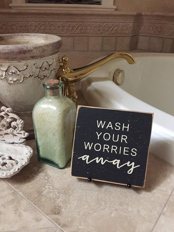Bathroom Small Sign Wash Your Worries Away Bathroom Decor Farmhouse Bathroom Bathtub Decor Shelf Sitter Mini Bedroom Sign With Sayings Home Decor Plaque Amazon Ca Home Kitchen