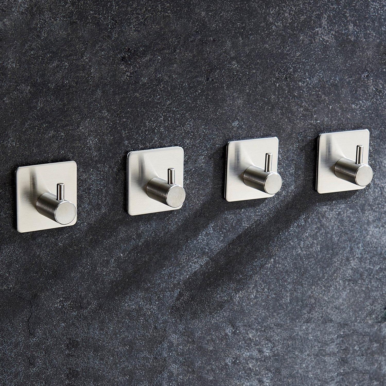 LareinaXXX 4-Pack Towel/Robe Hook Self Adhesive for Kitchen Bathroom SUS304 Stainless Steel Brushed