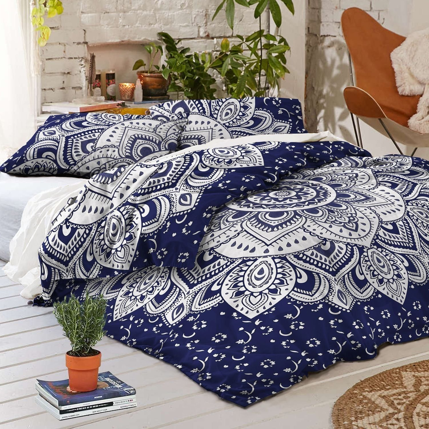 Psychedelic Celestial Sun Moon Duvet Cover Set Indian Sun Hippie Hippy Bedding Set Tie Dye Comforter Cover (Blue Lotos Ombre) Vedant Designs VDC0001