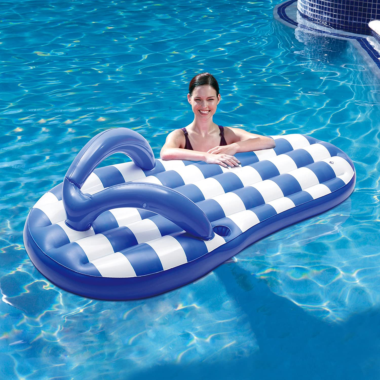 Blue Wave Marine Blue Flip Flop Inflatable Pool Float 71 71 Swim Time NT1775