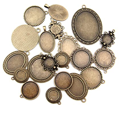 Amazon all in one 20pcs mixed cabochon frame setting tray all in one 20pcs mixed cabochon frame setting tray pendant for diy jewelry making antique aloadofball Gallery