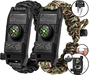 A2S Protection PSK Paracord Bracelet 8-in-1 Personal Survival Kit Urban & Outdoors Survival Knife, Fire Starter, Glass Breaker, Survival Whistle, Signal Mirror, Fishing Hook, Compass