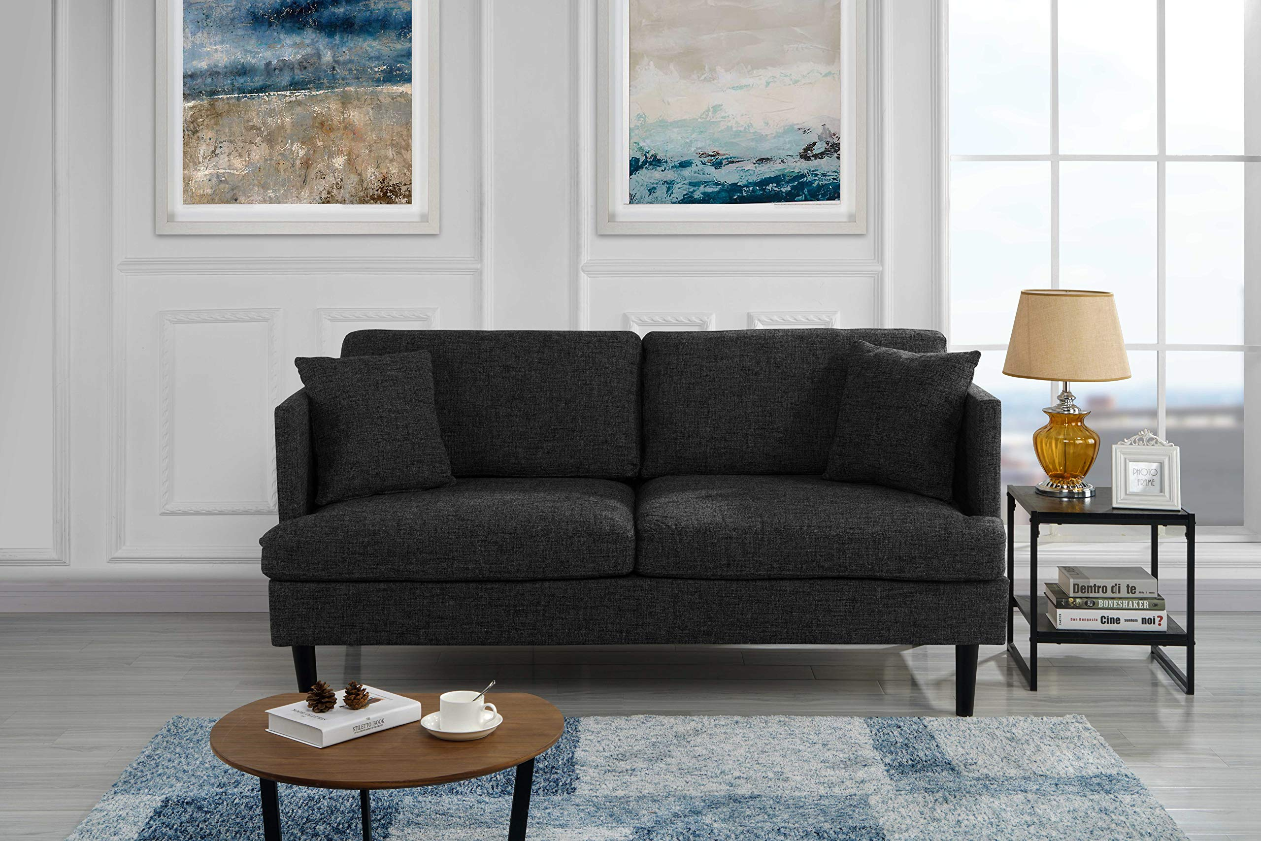 Modern Upholstered Loveseat Sofa/Couch (Ash Grey) - Mid Century style modern living room loveseat couch with decorative pillows and wooden legs. Square frame with club-style armrests. Upholstered in woven marbled soft linen fabric with 2 additional pillows in the same fabric. The perfect size sofa for a studio apartment and or a guest room. Comfortable cushions filled with high density foam. - sofas-couches, living-room-furniture, living-room - 91J9FL3l9AL -
